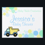 """Construction Dump Truck Baby Shower Lawn Sign<br><div class=""""desc"""">Baby blue and yellow dump truck  to welcome baby or for any occasion.  Personalize text as needed.</div>"""