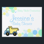 "Construction Dump Truck Baby Shower Lawn Sign<br><div class=""desc"">Baby blue and yellow dump truck  to welcome baby or for any occasion.  Personalize text as needed.</div>"