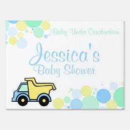 Construction Dump Truck Baby Shower Lawn Sign
