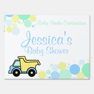 Construction Dump Truck Baby Shower Lawn Sign