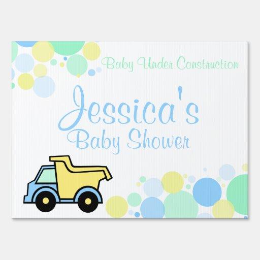 construction dump truck baby shower yard sign zazzle