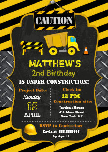 Dump truck birthday invitations announcements zazzle construction dump truck birthday invitations filmwisefo Image collections
