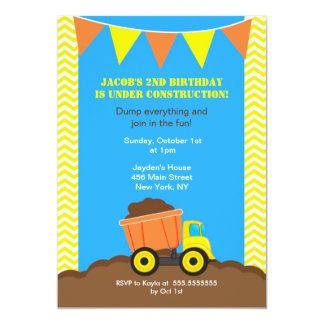 "Construction Dump Truck Birthday Invitations 5"" X 7"" Invitation Card"