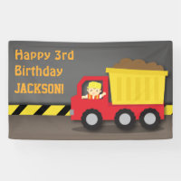 Construction Dump Truck Boys Birthday Party Banner
