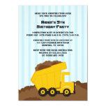 Construction dump truck boys birthday party invite