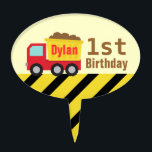 "Construction Dump Truck Kids First Birthday Topper<br><div class=""desc"">A cute red and yellow dump truck carrying the debris for the little builders! The little ones who love construction vehicles and toys are going to dig this design! Makes a wonderful birthday or Christmas present for children. Personalise easily with boy&#39;s name.</div>"