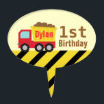 """Construction Dump Truck Kids First Birthday Topper<br><div class=""""desc"""">A cute red and yellow dump truck carrying the debris for the little builders! The little ones who love construction vehicles and toys are going to dig this design! Makes a wonderful birthday or Christmas present for children. Personalise easily with boy&#39;s name.</div>"""