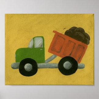 Construction Dump Truck Nursery Art Posters