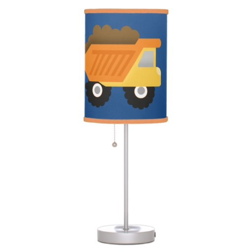 Construction Dump Truck Nursery Lamp Orange Trim