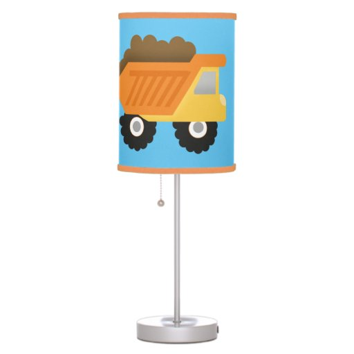Construction Dump Truck Nursery Lamp Orange Trim 2