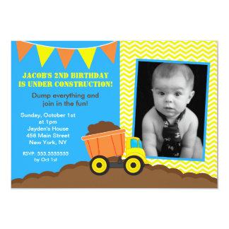 "Construction Dump Truck Photo Birthday Invitations 5"" X 7"" Invitation Card"