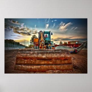 construction dumper truck bulldozer dozer poster