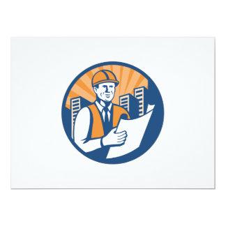 Construction Engineer Architect Foreman Retro 6.5x8.75 Paper Invitation Card