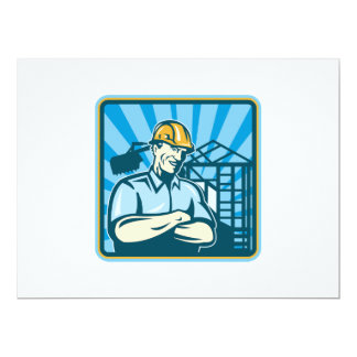 Construction Engineer Foreman Worker 6.5x8.75 Paper Invitation Card