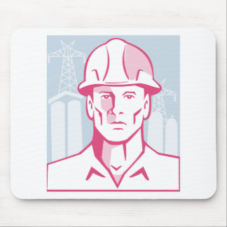 Construction Engineer Worker Hardhat Mouse Pad
