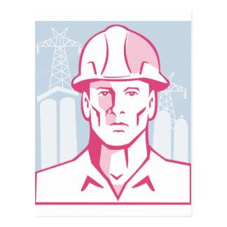 Construction Engineer Worker Hardhat Postcard