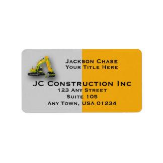 Construction Equipment Backhoe Address Labels