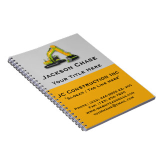 Construction Equipment Backhoe Spiral Notebook
