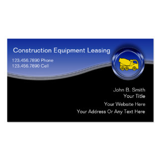 Construction Equipment Leasing Business Cards