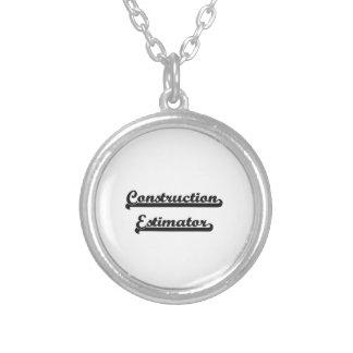 Construction Estimator Classic Job Design Round Pendant Necklace