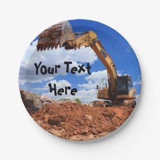 Construction Excavator Paper Plate