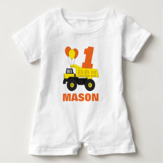 Construction First Birthday Outfit, Romper