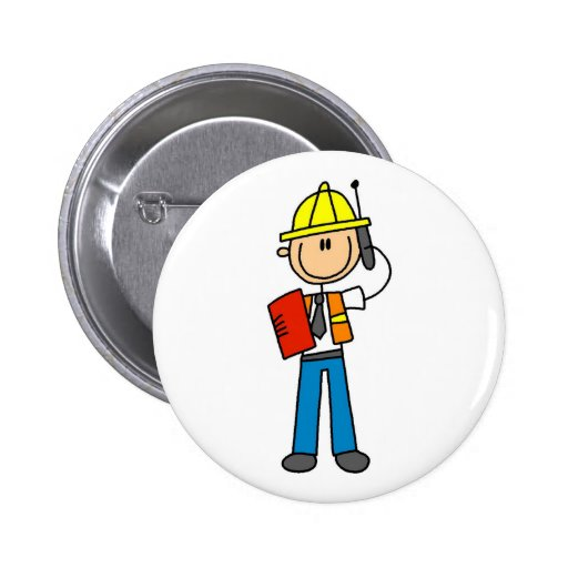 Construction Foreman on Cellphone Button
