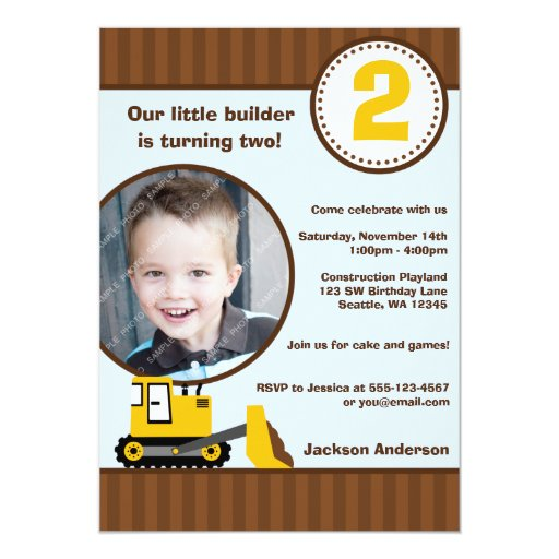 Construction Front Loader Photo Boy Birthday Party 5x7 Paper Invitation Card