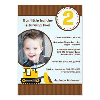 "Construction Front Loader Photo Boy Birthday Party 5"" X 7"" Invitation Card"