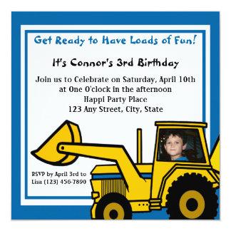"""Construction Fun/ Backhoe 5.25"""" Square Invitation Card"""