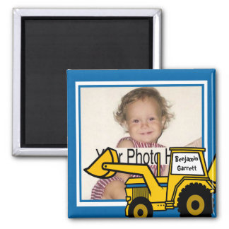 Construction Fun Backhoe Photo 2 Inch Square Magnet