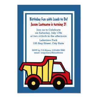 Construction Fun Birthday Dump Truck 5x7 Paper Invitation Card