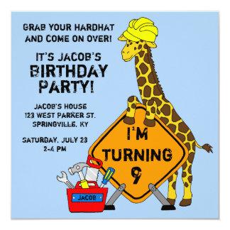 Construction Giraffe Birthday Card
