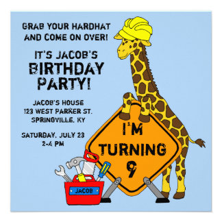 Construction Giraffe Birthday Announcements