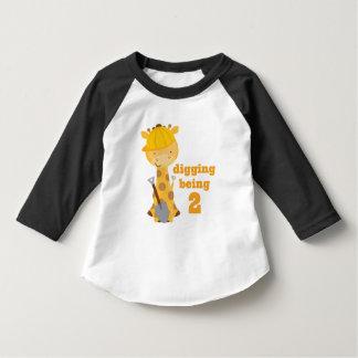 Construction Giraffe Cute boys 2nd birthday Tshirt