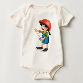 Construction girl baby bodysuit