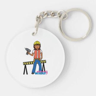 Construction Girl Double-Sided Round Acrylic Keychain