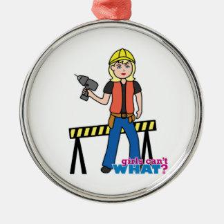 Construction Girl - Light/Blonde Metal Ornament