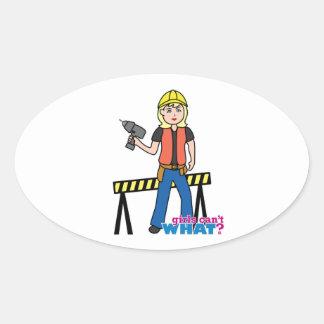 Construction Girl - Light/Blonde Oval Sticker