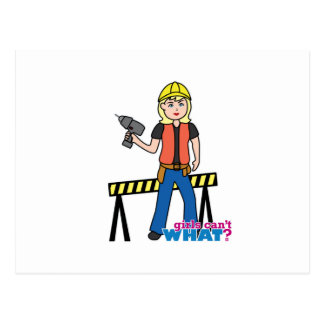 Construction Girl - Light/Blonde Postcard