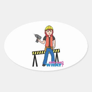 Construction Girl - Light/Red Oval Sticker