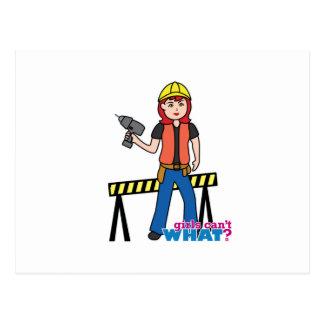 Construction Girl - Light/Red Postcard