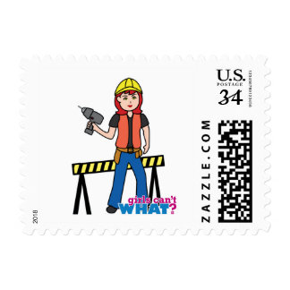 Construction Girl - Light/Red Stamp