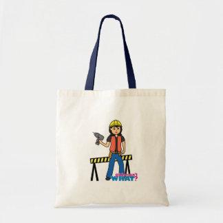 Construction Girl - Medium Tote Bags
