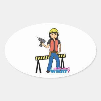 Construction Girl - Medium Oval Sticker