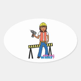 Construction Girl Oval Sticker