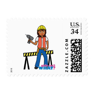 Construction Girl Postage Stamp