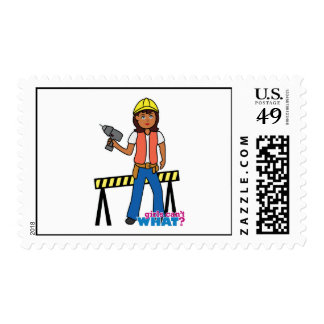 Construction Girl Stamp