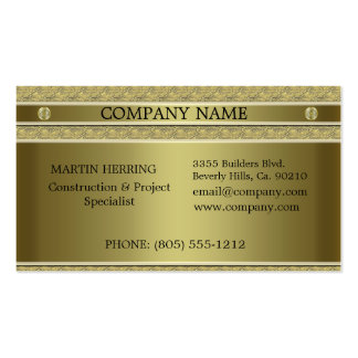 Construction Gold Metal Embossed Business Card Template