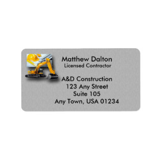 Construction Gray with Backhoe Address Labels